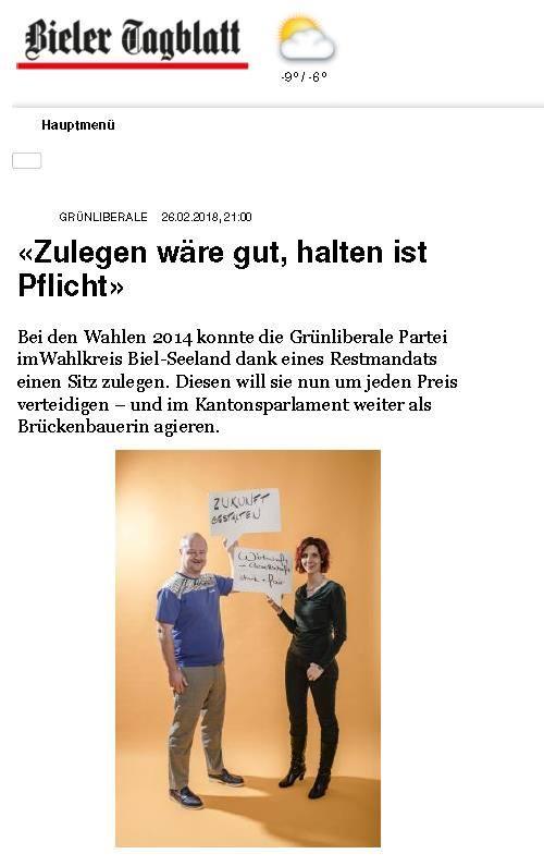 Grossrat Nathan Güntensperger und ich im Bieler Tagblatt
